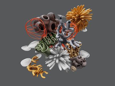 Build: Coral Composition composition abstract design illustration organic blender render 3d coral