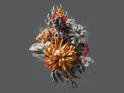 Make: Coral Composition colors organic abstract design illustration composition render blender 3d