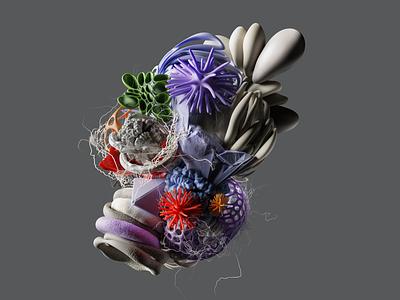 Composition colours violet photoshop design instalation illustration organic composition cycles 3d blender