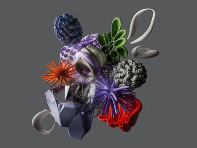 Recompose red violet colours 3d organic illustration composition render cycles blender