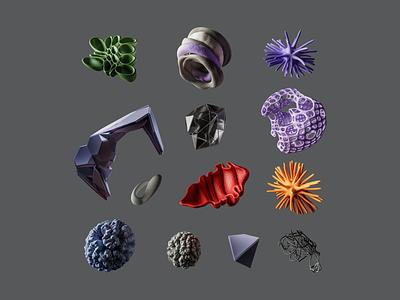 Compose abstract elements grid violet photoshop design organic instalation illustration composition render 3d blender