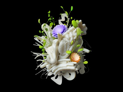 Spring on Organic illustration organic plants flowers abstract installation set instalation cinema4d render 3d