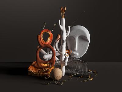 Composition minimal monument plants c4d cinema4d houdini 3d organic dark mood