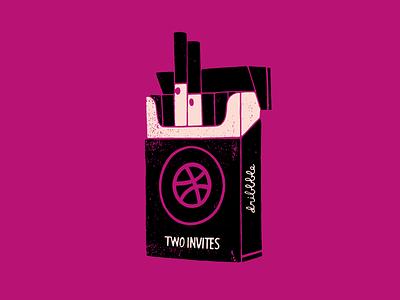 Invitation x2  lucky strike hand drawn cigarette invitation invite
