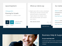 Lower part of a corporate B2B website homepage