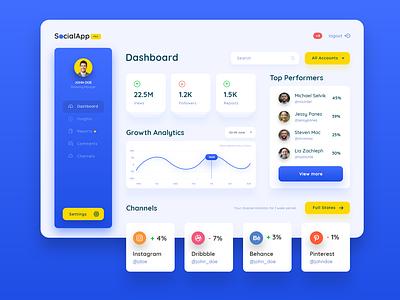 Social Accounts Management Concept ux ui rich clean management dashboard blue social