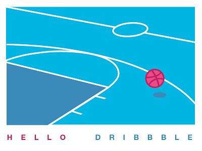 Dribbble Tribute kevinsky logo debut clean minimalist firstshot graphiclandscape court baskeball flatdesign