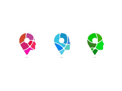 Pinhead 2 overlaping gradient fusion smartlogo smart app travel location face profil head pin
