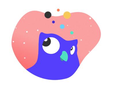 Expressive owl in space (2/3) ux happy studio space heureuse planets planètes owl mascotte mascot espace chouette
