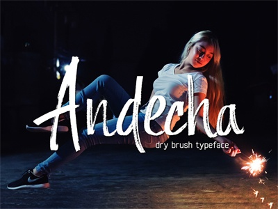 Andecha - Dry Brush Typefacr ligature fast ink hand draw hand lettering lettering marker brush typeface type font