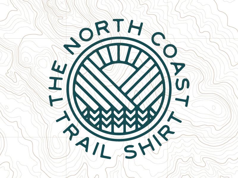 The North Coast Trail Shirt apparel logo badge outdoor topo map trees mountains sun