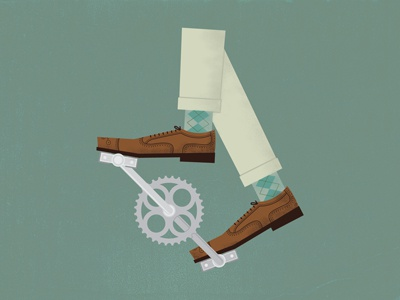 Ride On ride on wing tip argyle bicycle crank pedal illustration