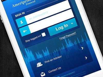 Weekend brainstorm login finance graph blue iphone ios native chart