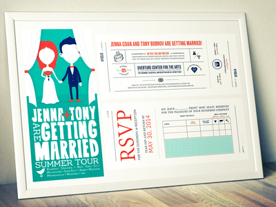 Jenna + Tony 2014 Pack 1 of 2 wedding invite invitation rsvp gig band poster paper print madison