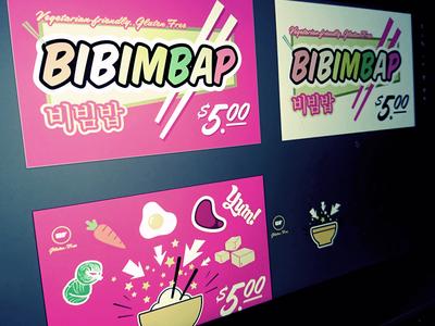 Bibimbop sign graphic yum steak egg carrot tofu flyer korean poster bibimbap