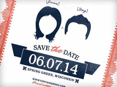 Save the date (but not really) letterpress date banner silhouet border navy hair wisconsin paper texture wedding