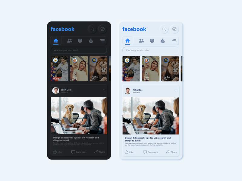 Facebook neumorphism redesign concept