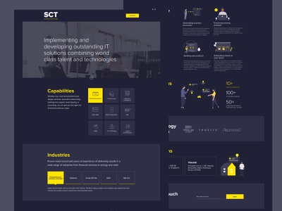 SCT silvercliff technologies yellow clean illustraion dark technology it development