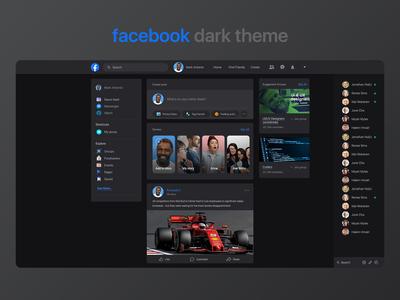 Facebook web dark theme