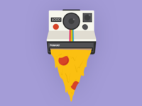 Say cheese! sticker say cheese pepperoni cheesecake cheese colorful photo flat 2d food drawing camera polaroid pizza illustration