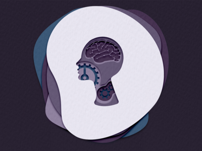 Brains and gears layers layer-art human body brain gear design paper biology human abstract cutout illustration