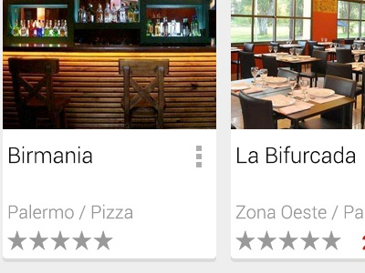 Restaurant List android search results list