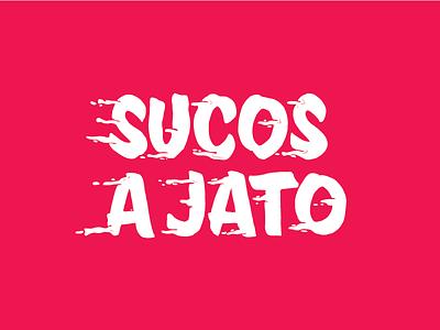 Sucos a jato type summer fruit lettering fast juice
