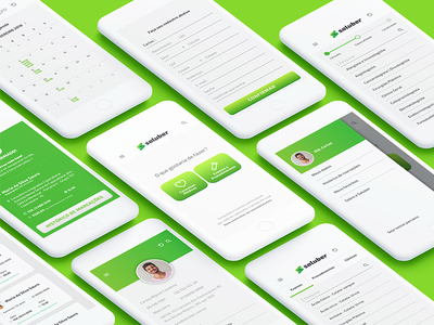 Saluber App health icon ux ui interface green medical doctor care app