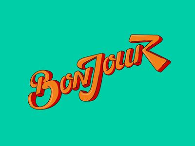 Bonjour Lettering typography 3d bonjour type lettering style free