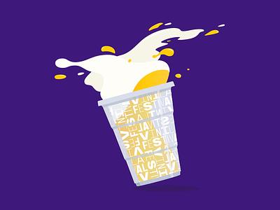Beer splash illustration cup pop rock music festival specimen splash beer