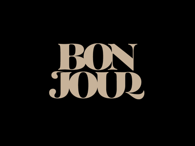 Bonjour black typography type bonjour coffee plau tenez serif lettering logo