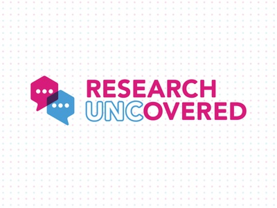 Research UNCovered Identity conversation word bubble science education identity branding wordmark logo research
