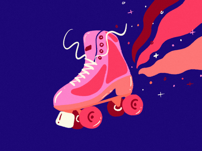 Roller Disco roller skate bright sparkles roller blade disco roller procreate illustration