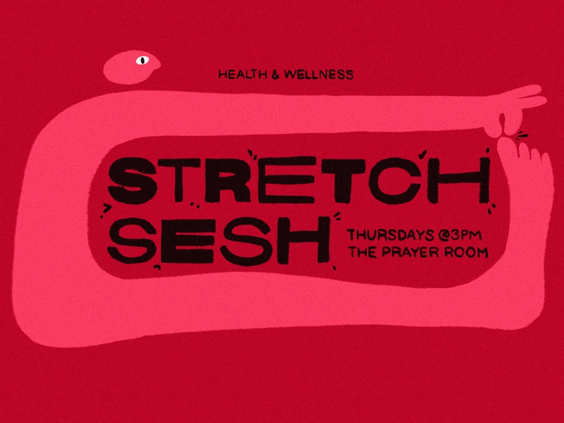 Stretch Sesh office typography pinch body wellness health stretching stretch illustration