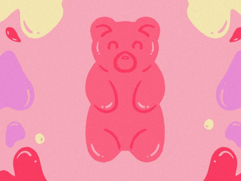 Isolation Diaries trippy edible candy gummy bear gummy illustration