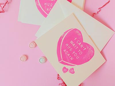 COVID Lino cards printmaking valentine covid linoprint linocut