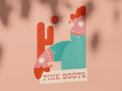 International Women's Day Beer Label cowboy boots farm pinky peach bright craft beer beer label southern cactus legs cowgirl boots pink illustration