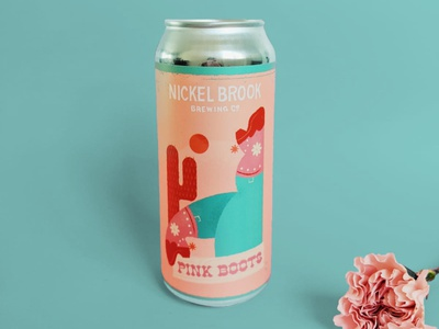 Pink Boots Can international womens day craft beer beer label label package design beer can peach cactus cowboy boots cowboy cowgirl boots pink illustration