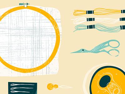 Cross Stitching Tools texture yarn scissors beer can cross stitching cross stitch design illustration