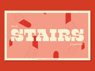 For Your Health health poster illusion slab serif script typography escher stairs