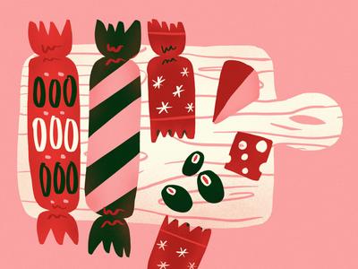 Advent Charcuterie bells christmas card holidays crackers charcuterie christmas illustration advent