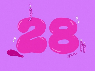 Another Birthday 28 procreate candles birthday typography balloon number illustration