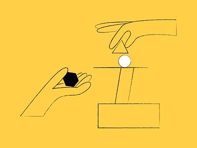 Values building blocks sketch color hands values illustration