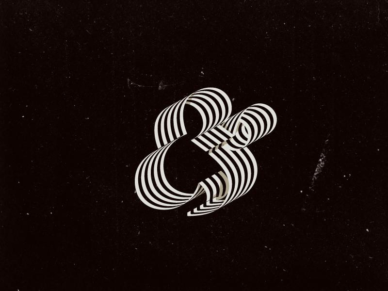 Fraktur Ampersand lettering type stripes bw ampersand curved non-uniform experimentation typography curls black and white black letter