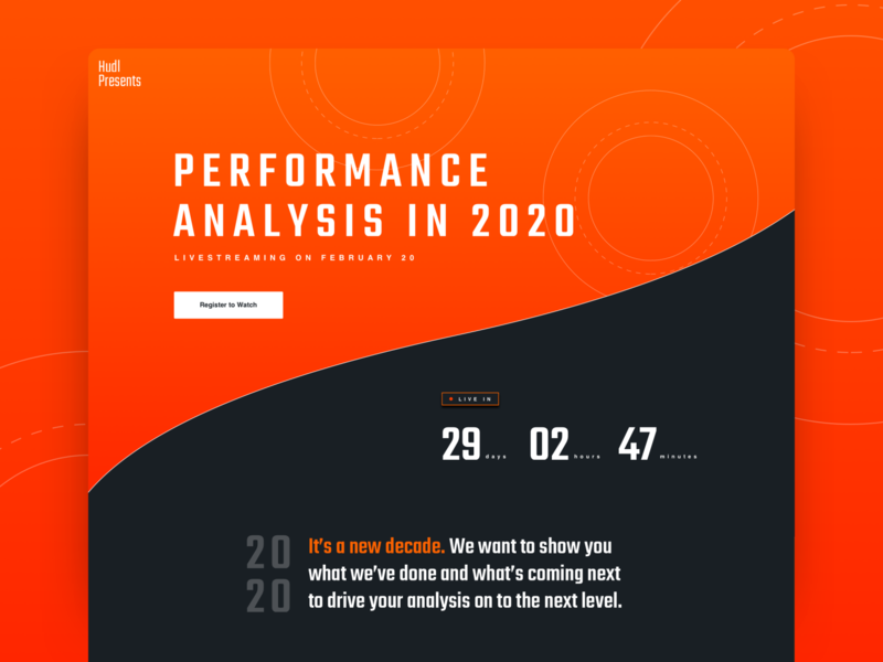 Hudl Presents: Performance Analysis in 2020 Concept design layout concept countdown event live sports