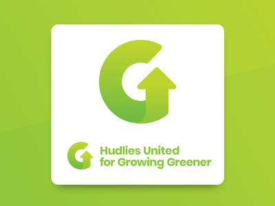 Hudlies United For Growing Greener recycle growth environment logo mark gradient letter green g