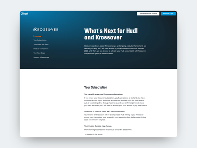 Krossover Acquisition Landing Page krossover hudl navigation acquisition layout content web