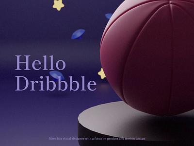 Hello Dribbble 👋 hello dribbble debut shot design webdesign hero image web clean ui illustration render blender basketball dribbble debut 3d art 3d animation