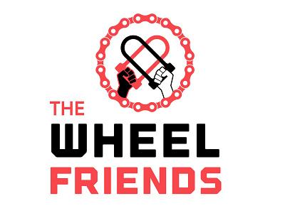 Wheel Friends Podcast Logo hands fists bike lock vector spotify icon heart podcast cycling bikes biking logo illustration