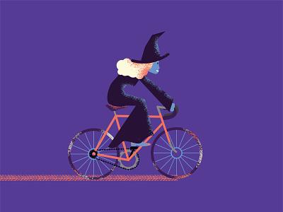 20/30 vectober - tread illustration halloween bicycle bike witch inktober vectober